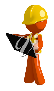 Orange Man Construction Worker  Holding Tablet or Computer Device