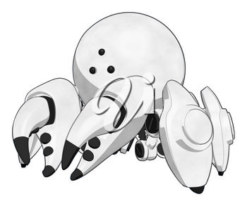 Robotics Mascot Crab standing passively with large claws pointing forward.