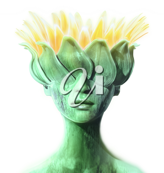 Woman with head morphing into a flower. Abstract concept for subjects like spring, horticulture, and naturalist thinking.