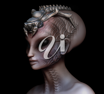 Hybrid alien woman queen with embedded parasite crown side view on black