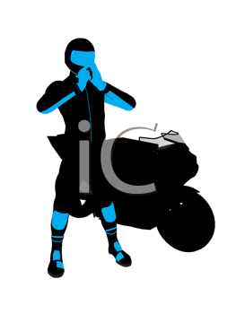 Royalty Free Clipart Image of a Motorcyclist and a Bike
