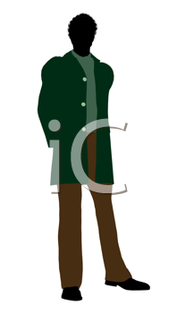 Royalty Free Clipart Image of a Man in a Green Jacket