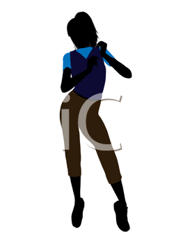 Royalty Free Clipart Image of a Girl in a Blue Top