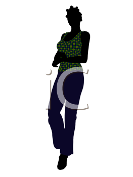 Royalty Free Clipart Image of a Woman in a Green Top