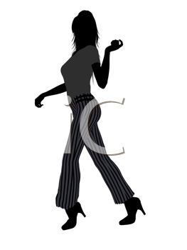Royalty Free Clipart Image of a Girl in Striped Pants