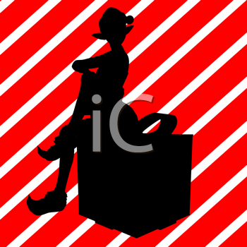Royalty Free Clipart Image of an Elf Sitting on a Gift