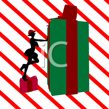 Royalty Free Clipart Image of an Elf With a Gift on a Red Striped Background