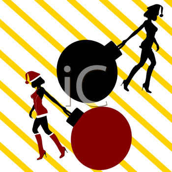 Royalty Free Clipart Image of Santa's Helpers Pulling Big Ornaments