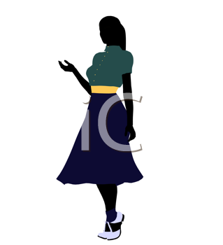 Royalty Free Clipart Image of a Woman in 50s Clothes