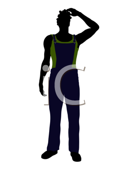 Royalty Free Clipart Image of a Guy in Overalls