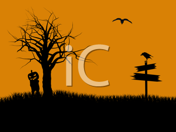Royalty Free Clipart Image of a Scarecrow Under a Tree and a Raven on a Sign