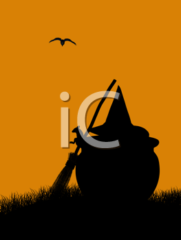 Royalty Free Clipart Image of a Mouse With a Pumpkin, Hat and Broom