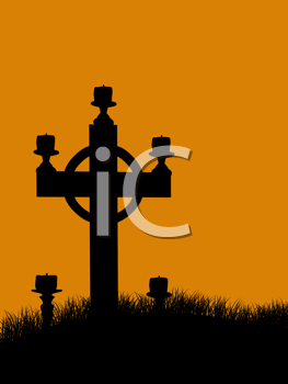 Royalty Free Clipart Image of a Grave Marker