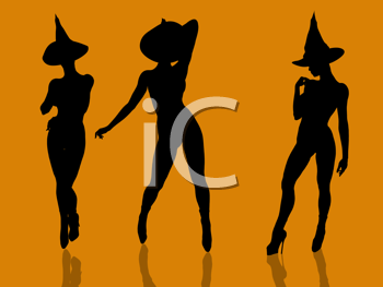 Royalty Free Clipart Image of Three Female Witches