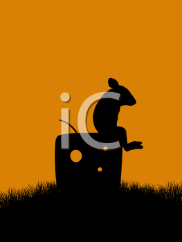 Royalty Free Clipart Image of a Rat on a Piece of Cheese
