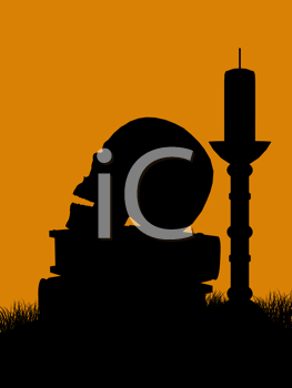 Royalty Free Clipart Image of a Skull, Books, and a Candle