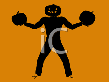 Royalty Free Clipart Image of a Jack-o-Lantern Scarecrow With Pumpkins