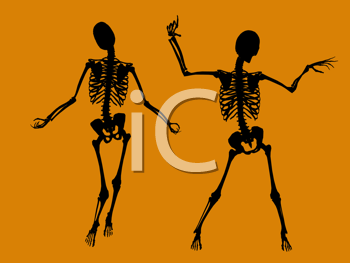 Royalty Free Clipart Image of Skeletons