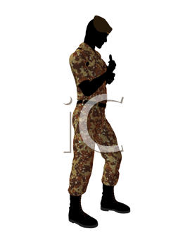 Royalty Free Clipart Image of a Male Soldier