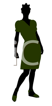 Royalty Free Clipart Image of a Woman in a Green Dress