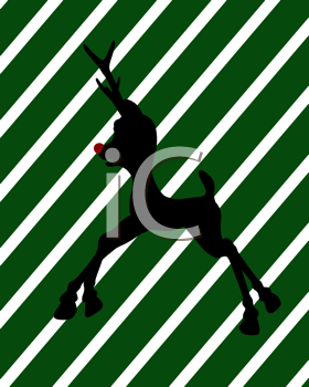Royalty Free Clipart Image of a Black Reindeer on a Green and White Striped Background