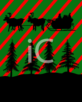 Royalty Free Clipart Image of Santa and the Reindeer Over Trees