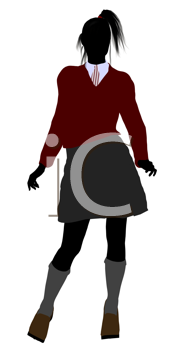 Royalty Free Clipart Image of a Schoolgirl