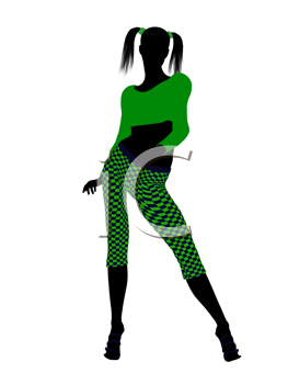 Royalty Free Clipart Image of a Girl in Funky Green Clothes