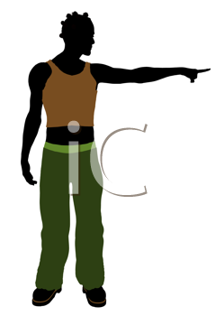 Royalty Free Clipart Image of a Casual Guy Pointing
