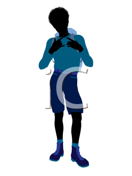 Royalty Free Clipart Image of a Boy Wearing a Backpack