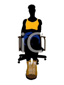 Royalty Free Clipart Image of a Basketball Player in a Chair