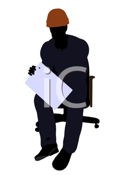 Royalty Free Clipart Image of a Man in a Hardhat on a Chair