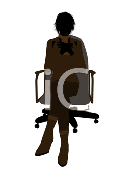 Royalty Free Clipart Image of a Businesswoman in an Office Chair