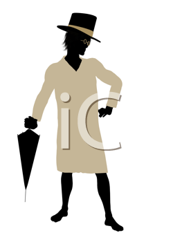 Royalty Free Clipart Image of a Boy in a Nightshirt Wearing a Top Hat and Umbrella