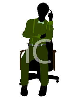 Royalty Free Clipart Image of a Man in a Green Shirt Sitting on a Chair