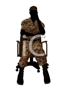 Royalty Free Clipart Image of a Soldier in an Office Chair