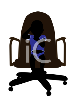 Male baby sitting on a chair art illustration silhouette on a white background
