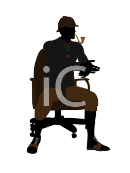 Royalty Free Clipart Image of a Man in a Chair Smoking a Pipe