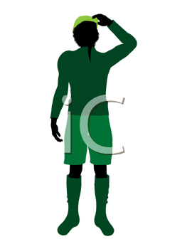 Royalty Free Clipart Image of a Silhouetted Peter Pan