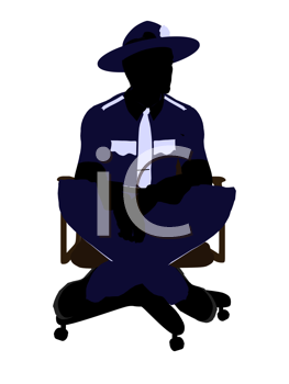 Royalty Free Clipart Image of a Police Office in a Chair