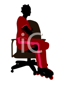 Royalty Free Clipart Image of a Woman Wearing Roller Blades Sitting in a Chair