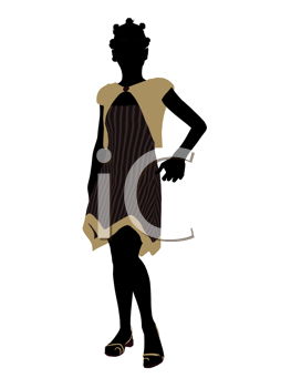 Royalty Free Clipart Image of a Girl in a Dress