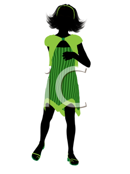Royalty Free Clipart Image of a Girl Wearing a Green Dress