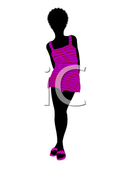 Royalty Free Clipart Image of a Young Girl in Pink