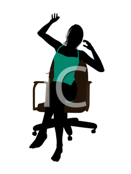 Royalty Free Clipart Image of Woman in a Suit Sitting in a Chair