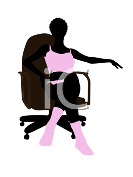 Royalty Free Clipart Image of a Woman Sitting in a Chair in Her Underwear