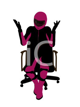 Royalty Free Clipart Image of a Female Biker Sitting in a Chair