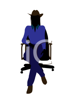 Royalty Free Clipart Image of a Cowgirl Sitting on a Chair