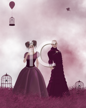 Royalty Free Clipart Image of a Woman and Man in a Field With Birdcages