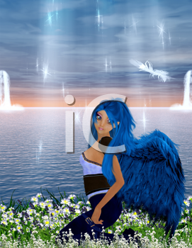 Royalty Free Clipart Image of a Fairy By the Water